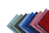 row of colorful carpet samples poster