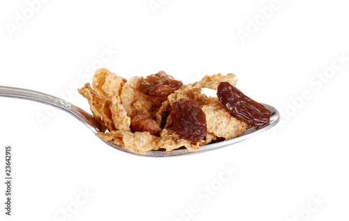isolated spoonful of bran and raisin cereal
