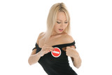 Woman undresses and holds prohibiting sign poster