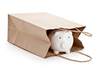 Brown paper shopping bag and Piggy Bank