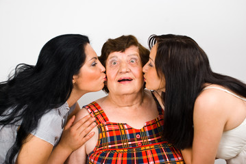 Let's kiss  grandma!