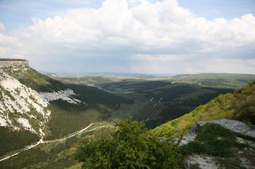 Mountain landscape with a flock in Crimea, Ukraine.
