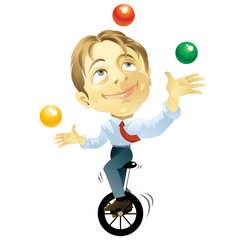 Business man on a unicycle juggling work