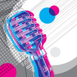 Fototapety Designed banner with microphone and retro graphic elements