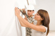 Couple doing home renovation