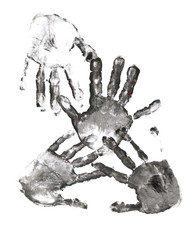 Spooky hands print over white