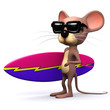 3d Mouse carrying surfboard