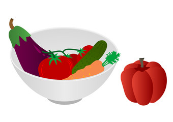 Illustration of a bowl with vegetables