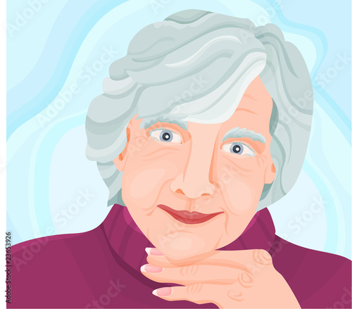 Senior, woman with a blue background