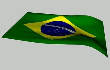 bandera de brasil ondulando sobre fondo blanco