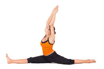 Fit Woman Practicing Monkey God Yoga Pose