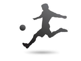 Calciatore tiro pallone in corsa