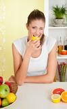 Beauty, young girl eating acid lemon poster