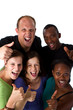 Young fresh multiracial group giving thumbs up sign and are real