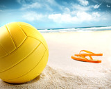 Volleyball in the sand with sandals