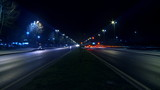 Timelapse night traffic on boulevard. HD 1080p.