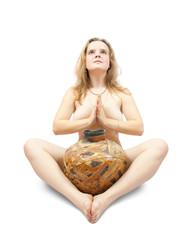 naked girl doing yoga
