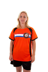 Dutch soccer supporter over white background
