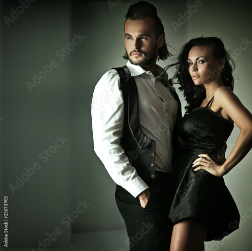 Fashion style photo of a cute couple