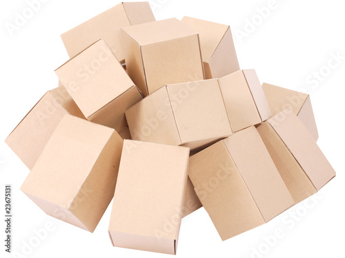 Heap brown cardboard boxes