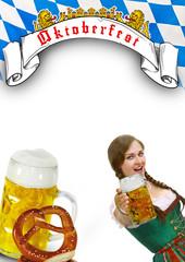 Oktoberfest Flyer - bayrisches Mädel
