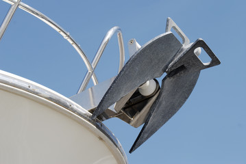 Anchor on motoryacht. Cannes. Cote d'Azur. France