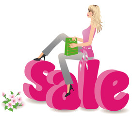 Spring sale 3d image, vector illustration