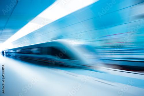Leinwandbild Motiv train motion blur