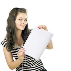 The schoolgirl has control over an open writing-book