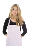 beautiful woman in apron isolated on white poster