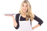 beautiful woman in apron holding your product poster