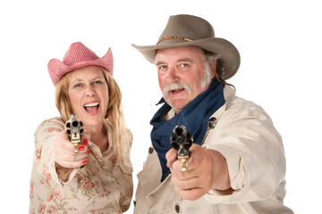 Man and woman aiming guns