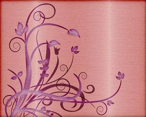 brushed metal and foliage vector