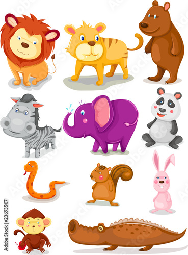 Tuinposter Zoo wild animals set