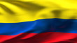 Creased Colombian satin flag in wind with seams and wrinkle