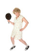 Funny housewife with frying pan