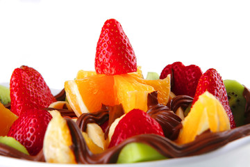 raw fruits with chocolate
