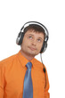 Man with headphones, listening to music