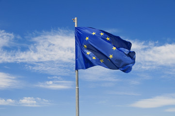 European flag on blue sky.
