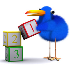 3d Blue bird counting with blocks