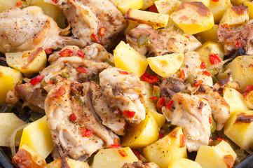 Potato with  hen.