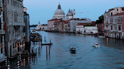 View on channel from Rialto bridge sunset