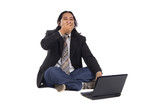 Long Hair Man Frustated with Laptop poster