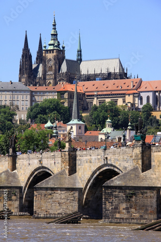 Spring Prague's gothic Castle with the Charles Bridge