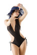 brunette in black swimsuit