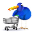 3d Blue bird goes shopping