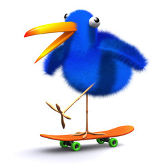 3d Blue bird rides on a skateboard