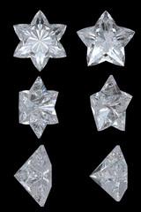 Five pointed, six point diamond stars