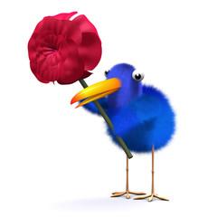 3d Blue bird holds a red rose
