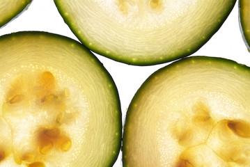 Slices of vegetable marrow
